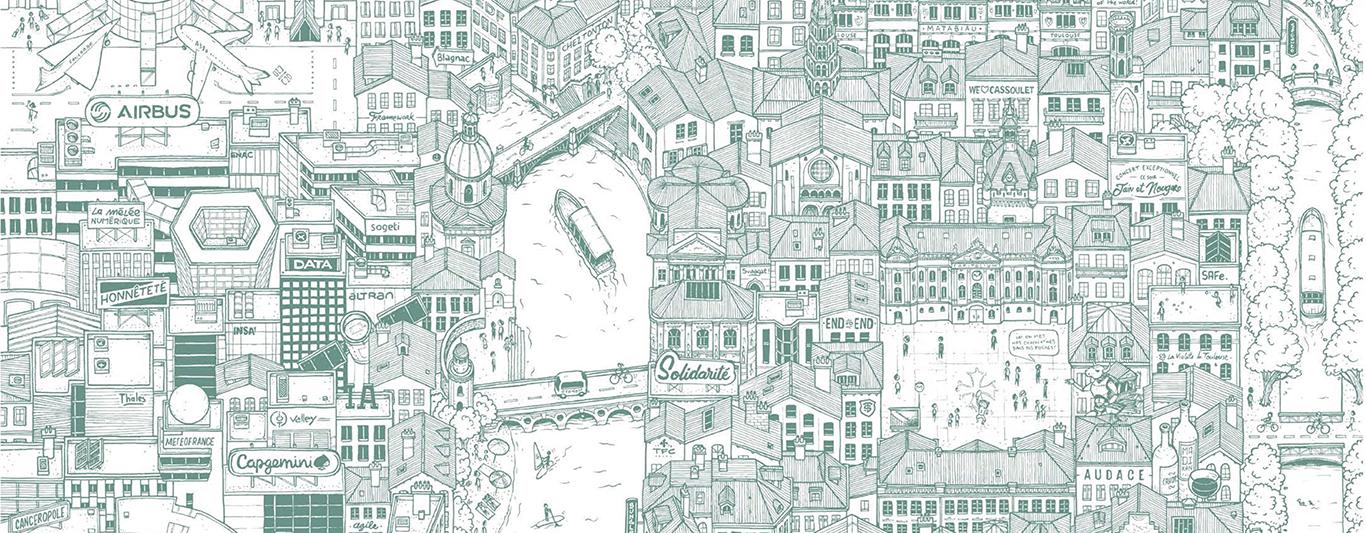 Fresque ornant les nouveaux bâtiments de Capgemini Toulouse, Docteur Paper ® Illustration