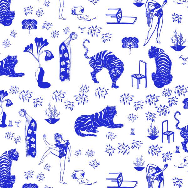 papier peint Tigres et chaises zoom